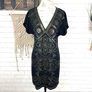 Hale bob silk gold embellished dress size Medium